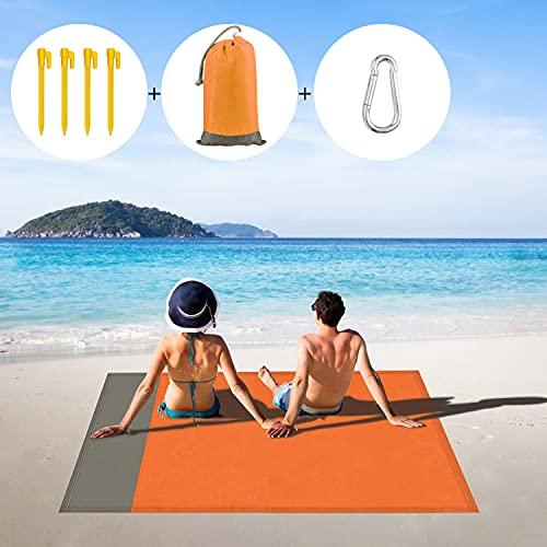 Manta Picnic Impermeable 210x200cm,Esterilla Playa con 4 Clavos Fijos, Alfombra de Playa Ligera...