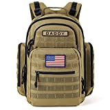 SHARKMOUTH Diaper Bag Backpack for Dad and Mom, Military Molle Baby Pack with Insulated Bottle Holders and Wipe Pocket