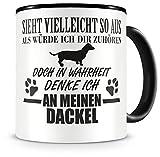 Samunshi® Ich denke an meinen Dackel Hunde Tasse Kaffeetasse Teetasse Kaffeepott Kaffeebecher Becher H:95mm/D:82mm schwarz