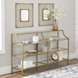 Better Homes and Gardens Versatile Gold Finish Nola Console Table Features Safety-Tempered Glass and Metal Construction, Assembled Dimensions: 59.41' x 13.07' x 32.40'