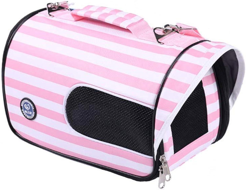 COOINSCBXL Pet portable handbag cat travel bag dog backpack out bag, 34 × 20 × 20cm, pink A