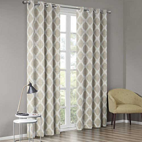 """SUNSMART Blakesly Blackout Curtains Patio Window, Ikat Print, Grommet Top Living Room Decor, Thermal Insulated Light Blocking Drape for Bedroom and Apartments, 50"""" x 95"""", Taupe"""