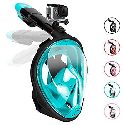Gpeng Sunhoo Full Face Snorkel Mask, Foldable Snorkeling Mask with Detachable Camera Mount, 180¡ã Panoramic View Diving Mask Dry Top Set Anti-Fog Anti-Leak for Adults and Kid,Blackgreen£¬S