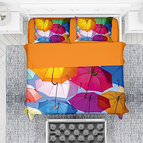 NuvolaNera Set completo lenzuola con stampa fotografica altissima qualità – 100% Cotone – Piazza e mezza - Umbrella