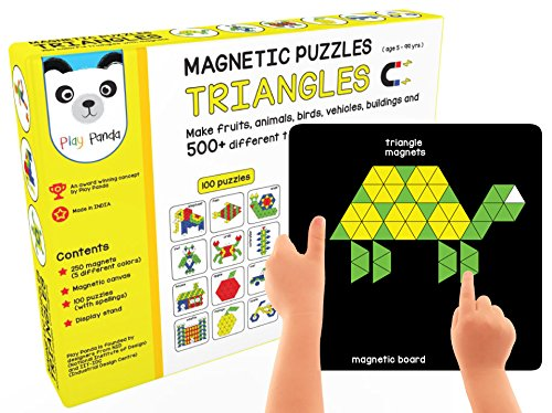 Play Panda New Magnetic Puzzles : Triangles - Includes 200 Colorful Magnets, 100 Puzzles, Magnetic Board, Display Stand