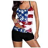 American Flag Bikini USA Flag Swimsuits for Women July 4th Patriotic Sexy Swimsuit Bathing Suits High Waist Tankini