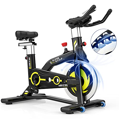 Neezee Exercise Bike – Magnetic Resistance Cycling Exercise Bike Indoor Stationary Spin Bike for Home Gym Training, Belt Drive Super Quiet Spinning Bike with LCD Monitor, Pulse Sensor, iPad Holder