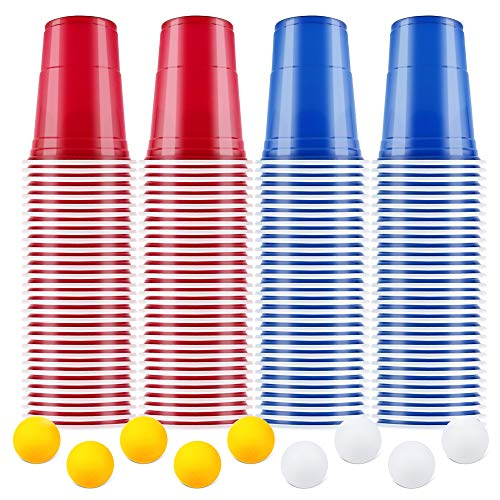 【100+10】BeerPong Partybecher Beer Pong Becher Plastikbecher Einwegbecher 480ml ( 16 OZ )Bier Pong Cups Party Becher | Wiederholbare Trinkbecher Camping Cocktail Bier Weihnachten Geburtstag Hochzeit
