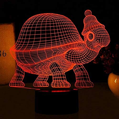 Lumineux Animal Turtle Turtle 3D Night Light LED Illusion d'optique LampHome Atmosphere décoratif 3D LED Lights Touch Operated 7 Color 3D Table Lamp for Child