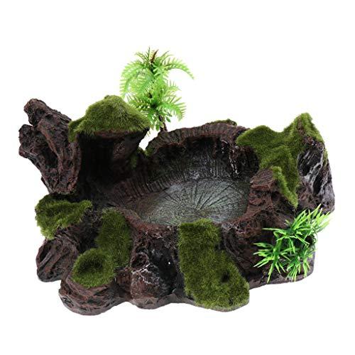 F Fityle Terrarium Deko Futterschale Wasserschale mit Kunstpflanzen für Reptilien