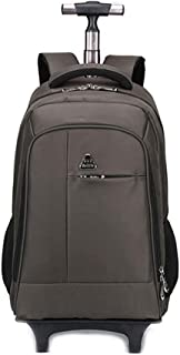 KTYXDE Travel Bag Backpack Large Capacity Trolley Backpack Travel Business Boarding Student Waterproof Wearable Bag Trolley Backpack (Color : Brown, Size : 48x20x30cm)