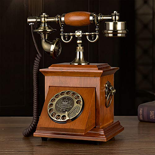 Dial Giratorio Teléfono Fijo Línea Fija Retro Caucho Madera Maciza Campana Mecánica Y Campana Electrónica Campana Doble Nostalgia del Hogar, B