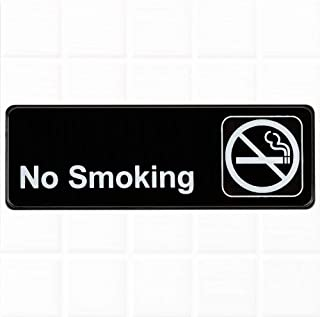 No Smoking Sign - Black and White, 9 x 3-inches No Smoking Sign for Door/Wall, Restaurant Compliance Signs by Tezzorio