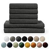 Blumtal Handtücher Set 2 Badetücher 70x140 + 4 Handtücher 50x100 - weich und saugstark, 100% Baumwolle, Oeko-Tex 100 Zertifiziert, Anthracite