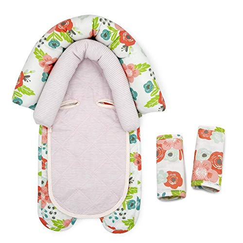 Goldbug Floral Duo Car Seat Head Support and Strap Set - Polyester, Cotton