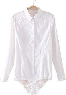 Womens Essential Long Sleeve Button Down Shirts Bodysuit