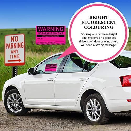 """No Parking Violation Stickers Hard to Remove (Pink) 10-Pack Towing Tags for Illegally Parked Vehicles in Your Lot - Super Sticky Car Permit Notices for Bad or Careless Parking 8"""" x 5"""" by MESS Photo #5"""