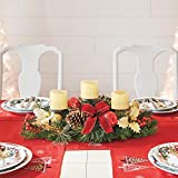 BrylaneHome Christmas Pre-Decorated Candle Holder Centerpiece Christmas Decoration, Red