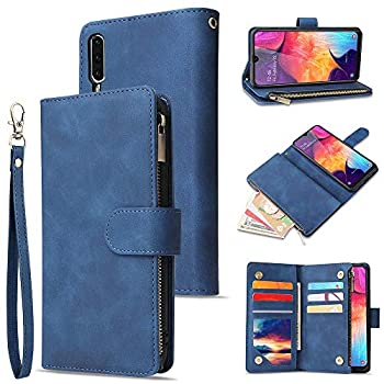 L-FADNUT A10 Wallet Case Leather for Samsung Galaxy A10 Trifold Flip Wallet Phone Case with Card Holder Magnetic Kickstand Zipper Folio Case Cover for Samsung Galaxy A10 Blue