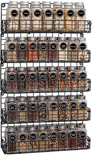 Especiero Organizador de Estantes de Almacenamiento de Estante de Especias de Alambre Apilable de 5 Niveles Montado En La pared,Ldeal para Almacenamiento En el Hogar y La Cocina