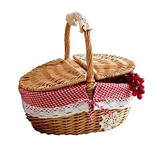 Camisin Cesta de mimbre de mimbre con tapa y asa, para camping, picnic, compras, alimentos, frutas, picnic