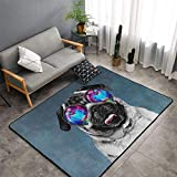 Area Rugs, Galaxy Pug with Cool Glass Rug for Bedroom, Rugs for Living Room, Fuzzy Carpet for Kid's Room, Nursery, Home Decor, 60x39 inch