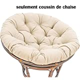 Coussin de Chaise de Balançoire Panier Suspendu,Sink Into Notre épaisse Confortable Et Surdimensionné Papasan,Rond Surchargé Coussins De Chaise Blanc Laiteux D105cm(41inch)