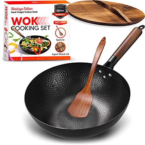 Gold Dragon Heritage Edition Carbon Steel Wok Set with Lid and Spatula | Nonstick Wok Stir-Fry Pan | Flat Bottom Wok with Lid | Traditional Chinese Wok for Electric or Gas Stovetops | 12.5 in.