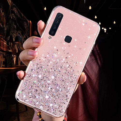 Saceebe Compatible avec Samsung Galaxy A9 2018 Coque Silicone Paillette Strass Brillante Bling Glitter Étoile Fille Femmes Housse Transparente TPU Souple Etui Mince Cristal Cover Anti-Choc,Rose