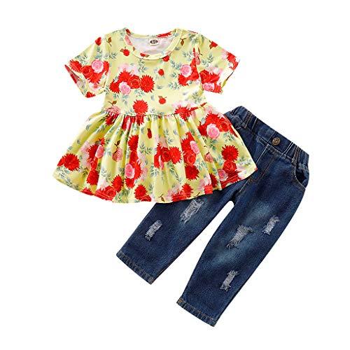 FBGood Ropa de bebé niña – Camiseta Estampada Flor Rosa de Manga C