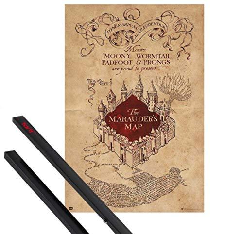 Harry Potter 1art1 Póster (91x61 cm) El Mapa del Merodeador Y 1 Lote De 2 Varillas Negras 1art1®