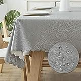 All--In Tischdecke Ölbeständigt Bügelfrei Tischtuch Wasserdicht Kratzfes PU Plastik Eckig Wachstuchtischdecke für Esstisch Couchtisch Dekorativer Tisch(Grau, 120 x 180 cm)