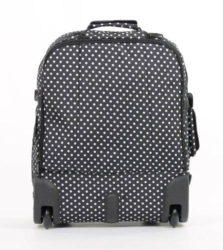 Maleta con ruedas para viaje Members bp-0057-po en color negro con lunares blancos