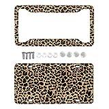 Jiueut Brown Leopard Animal Print Aluminum Metal License Plate Cover and Car License Plate,Wild Cheetah Car Exterior Accessory,2pcs,Durable