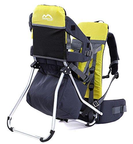 Montis Runner One Kindertragerucksack bis 25kg Gewicht - die Einstiegs Kraxe/Kindertrage für beide Elternteile - erweiterbar durch Regenschutz, Fußrasten & Wickelmatte, GELB