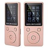 Reproductor de música MP4 deportivo,reproductor de MP3 delicado portátil compatible con música,radio,grabación,video,libro electrónico con pantalla de 1,8 pulgadas,8 horas de tiempo de esp(Oro rosa)
