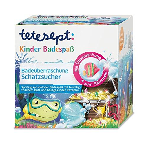 """tetesept Kinder Badespaß Badeüberraschung """"Schatzsucher"""", Spritzig sprudelnde Badeessenz - inkl. Sammelfigur und kleiner Badegeschichte - 1 x 140 g"""