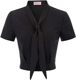 Belle Poque Women Vintage Inspired Tie Neck Blouse Short Sleeve Cropped Top BP877
