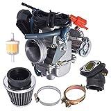 munirater 26mm Carburetor with Air Filter Replacement for GY6 150cc ATV Go Kart Scooter Kazuma Taotao SunL Eagle Baja Roketa with Fuel Filter Spark Plug Intake Manifold and Adjusting Shims