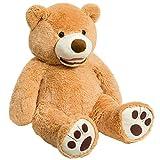 HollyHOME Giant Teddy Bear Stuffed Animals Plush Smile Bear with Footprints 39 Inch Tan