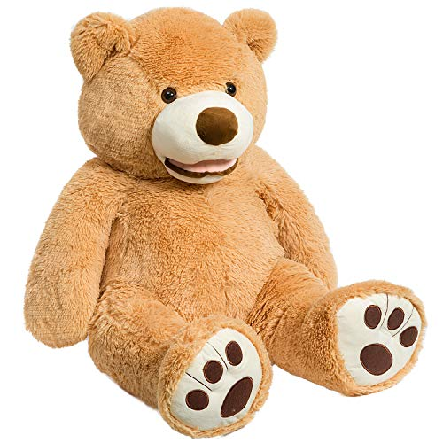 HollyHOME Giant Teddy Bear Stuffed Animals Plush Smile Bear with Footprints for Kids and Girlfriend 39 Inch Tan