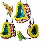 Jiuwei Nido de pájaro de invierno, hamaca cálida para colgar, cueva de peluche para loros, conejos, hámsteres, animales pequeños (Talla M)