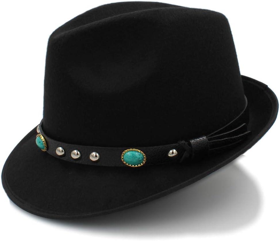 no-branded Women's Wool Jazz Cap Hat Vintage Winter Ladies Fedora Hats with Metal Belt Female Curled Brim Felt Hat ZRZZUS (Color : Black, Size : 56-58cm)