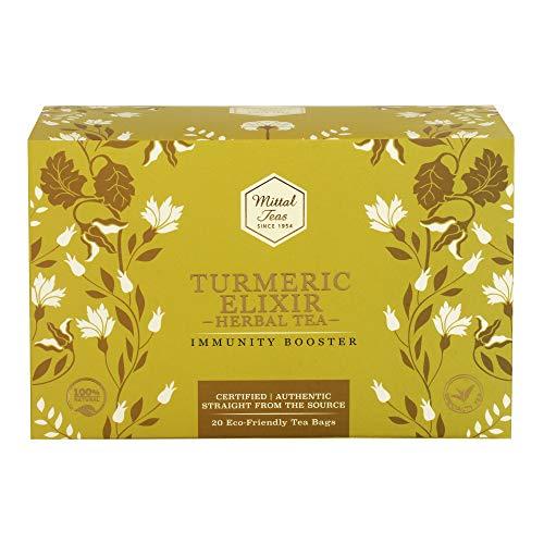 Mittal Teas Immunity Booster Turmeric Elixir Herbal Tea | 20 Eco Friendly Muslin Bags | 100% Organic Ingredients |40 GM