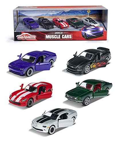 Majorette Muscle Cars 5er-Geschenkset, Spielzeugautos mit Freilauf, Modelle: Dodge SRT Viper, Dodge Challenger SRT Hellcat, Ford Mustang Vintage, 2 exklusive Designs: Ford Mustang GT, Chevrolet Camaro