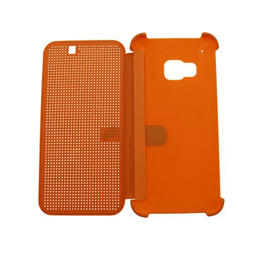 Für HTC One M9 Schutzhülle Tasche Smart Case Premium Hülle Tasche Dot Matrix View Book Orange