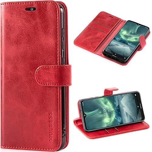 Mulbess Handyhülle für Nokia 7.2 Hülle Leder, Nokia 7.2 Handy Hüllen, Vintage Flip Handytasche Schutzhülle für Nokia 7.2 Case, Wein Rot