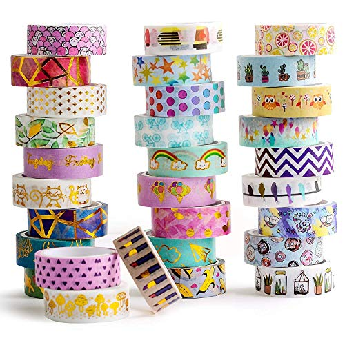 30 Roll Cute Washi Tape - 15mm Wide Colorful Gold Foil Tape | Japanese Masking | Bujo Supplies | Scrapbook | School Party Supplies | DIY Decor Planners | Arts & Crafts