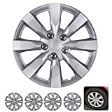 "BDK Wheel Guards – (4 Pack) Hubcaps for Car Accessories Wheel Covers Snap Clip-On Auto Tire Rim Replacement for 16 inch Wheels 16"" Hub Caps (Medium Spokes)"