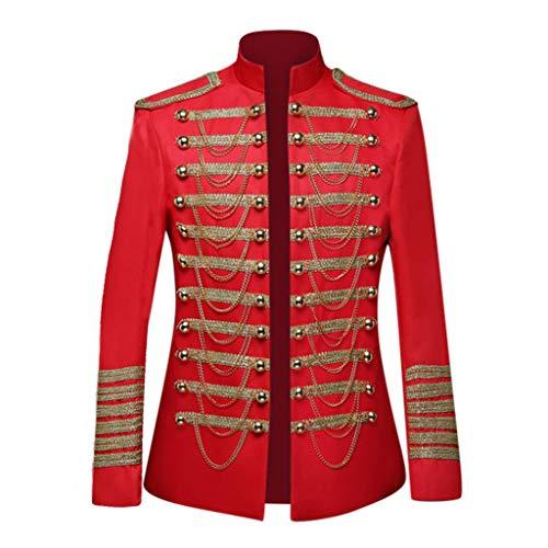 ZHANSANFM Steampunk Jacke Herren Elegant Mantel Luxus Viktorianisches Cosplay Kostüm Gothic Vintage Anzüge Sakkos Troddelanzug in Militärkleidung Uniform Mittelalter Kleidung (2XL, rot)